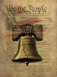 "In the foreground, the Liberty Bell. In the background, the US flag superimposed on the first page of the US constitution. ""We the People"" is in large script at the top of the page"
