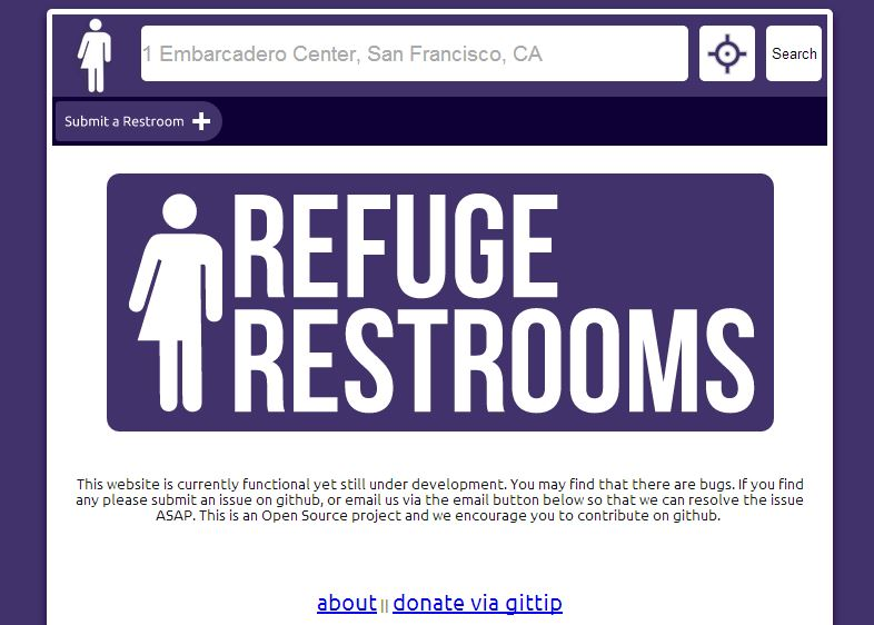 "Screenshot of the Refuge Restroom homepage. Users can add new data to Refuge Restrooms by clicking ""Submit a restroom"" in the top left corner of the homepage."