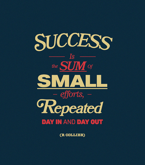 """""""Success is the sum of small efforts repeated day in and day out."""" —R. Collier"""