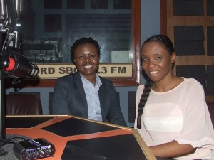 M. Hutcheson (left) talks about the play with K. Hanson, a presenter at S. Bahamas Conference's radio station, WORD SBC 88.3 FM.