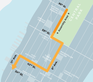 The People's Climate March route from 87th St to 34th, NY (via PCM.org)