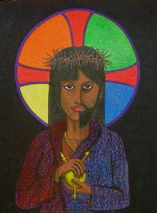 "David Hayward's colored pencil drawing ""Neither,"" shows an icon that is discernibly neither male nor female."