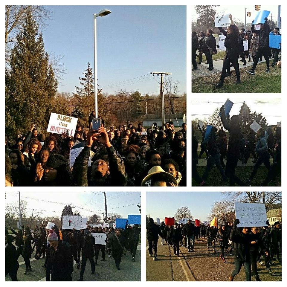"""Photos of students marching, holding signs like """"Black Lives Matter"""""""