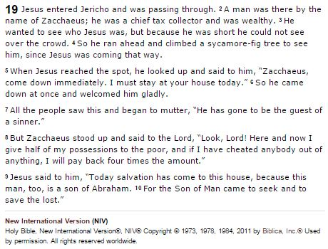 Zacchaeus meets Jesus - Luke 19 (via Bible Gateway)