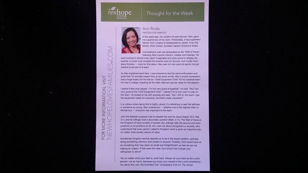 Photo of Ann Roda's January 10 weekly column.