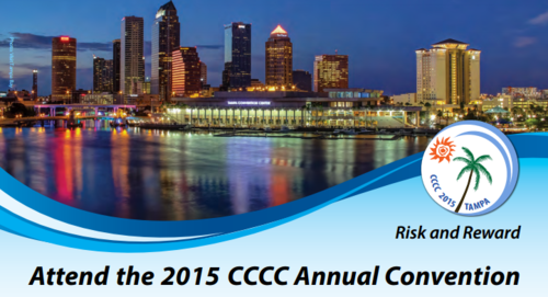"The convention image for the 2015 Conference on College Composition and Communication (CCCC) in Tampa, FL this March 18-21. The top half of the image is a photo of the Tampa skyline at night. The convention theme, Risk and Reward, is on the right of the image. At the bottom in black print: ""Attend the 2015 CCCC Annual Convention."" (Image via NCTE.org.)"