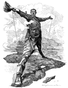 Line caricature of Cecil John Rhodes, in a victorious wide-stance on a tilted African continent. Rhodes has one foot near Egypt and the other near South Africa. The cartoon mocks the traditional myth that the ancient Colossus of Rhodes was so large it had a foot on either side of the Rhodes port.