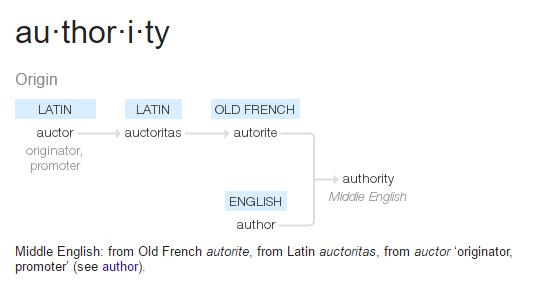 Authority: Origin (Latin) auctor - originator, promoter > (Latin) auctoritas > (Old French) autorite [and] (English) author > (Middle English) authority